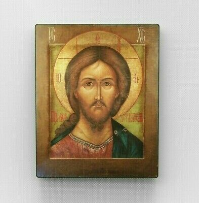 Stylized Antiques Orthodox Icon.Christ Pantocrator. Wood Wall Art.