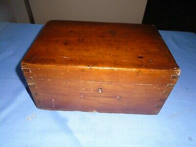 Vintage Collectable Stained Pine Writing Box Sewing Box Stationery Storage Box
