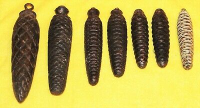 7 Vintage Black Forest Cuckoo  Clock Pine Cone Weights Job Lot