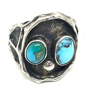 Antique Arts and crafts sterling silver natural turquoise ring