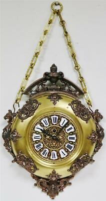Beautiful Quality Antique French 2 Tone Bronze & Silvered Circular Wall Clock
