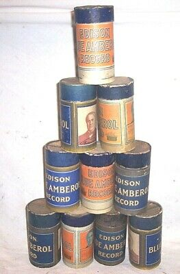 10 Edison Phonograph 4 Minute Blue Amberol Cylinder Record In Ob And Lid