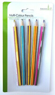 5 x Multi colour Rainbow  Colouring Pencils Artists Quality Colour Changing