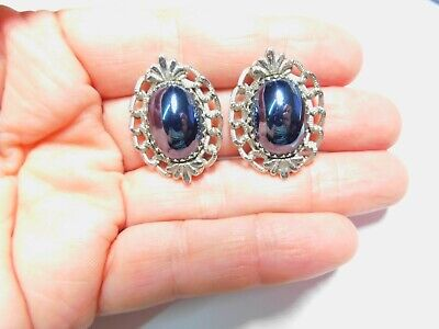 Signed Whiting & Davis Hematite Silver Tone Metal Clip On Earrings Vintage