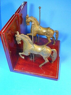 VINT 2 BRASS CAROUSEL HORSE PONY TABLETOP FIGURINE BOOKENDS Wood Base Patina