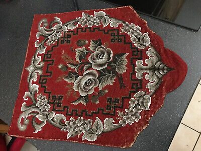 Antique Victorian Tapestry Beadwork Pole Screen Red & Black Blown Roses Floral