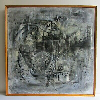 Mid Century Modern Black @ White Abstract Mixed Media Art Piece Collage Painting