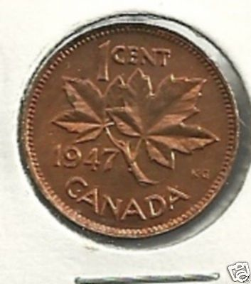 1947 BL 7 Canada 1 cent   Red/brown  MS-62 Nice Details and Patina