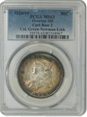 1820/19 Capped Bust Half 50c Curl Base 2 O-102 Green Newman Link MS63 PCGS