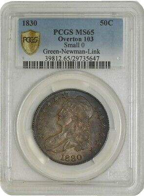 1830 Capped Bust Half 50c Sm 0 O-103 Green Newman Link MS65 Secure Plus PCGS