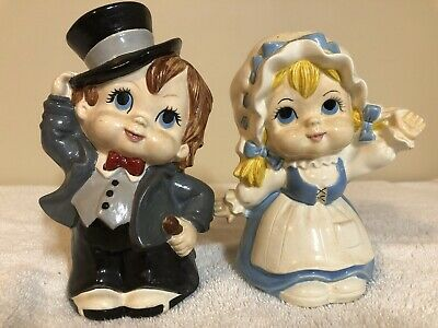 Vintage Daddy's 1974 Ceramic Bisque Boy & Girl Painted
