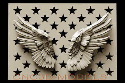 3D STL Model for CNC Router Carving Artcam Aspire USA Star America Wing Lap D508