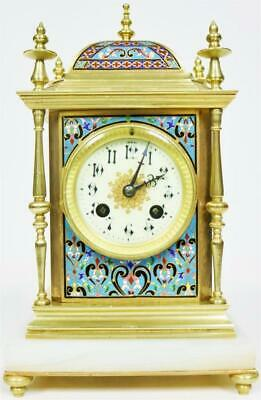 Sublime Quality Antique French 8 Day Bronze & Champleve Enamel Cube Mantle Clock