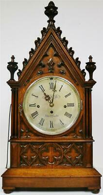 Deluxe Antique English Oak Triple Fusee 8 Bell Musical Cathedral Bracket Clock