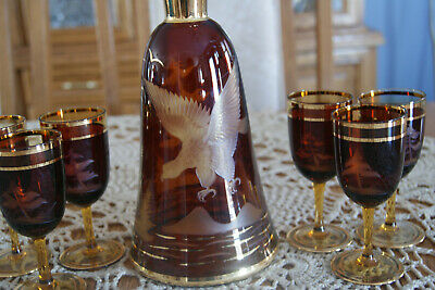VINTAGE DECANTER SET BOHEMIAN/CZECH EAGLE, PINE TREES Ruby over Amber Glass