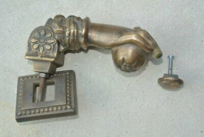 """5"""" brass vintage old style very heavy Door fist ring Knocker aged patina SOLID B"""