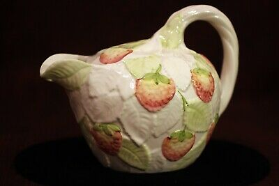 San Marco Glazed Ceramic Carafe with Strawberry Vines Made in Vicenza Nove Italy