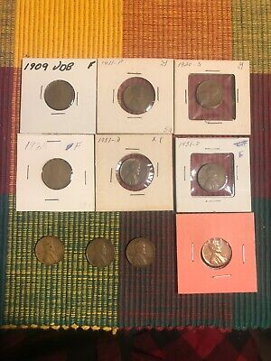 1909 VDB Lincoln Wheat Cent Penny And Others. 10 Wheat Pennies. Lot1