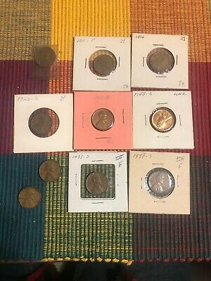 1909 VDB Lincoln Wheat Cent Penny And Others. 10 Wheat Pennies. Lot2