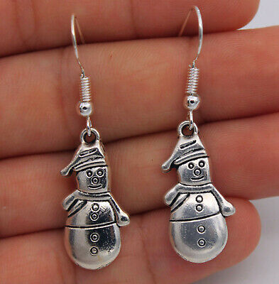 1.7'' Snowman Retro Silver Pretty Women Earring With 925 Silver Plated Hook #04