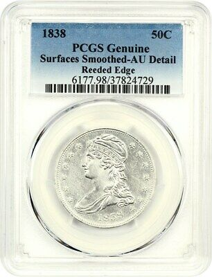 1838 50c PCGS AU Details (Reeded Edge, Surfaces Smoothed) - Bust Half Dollar