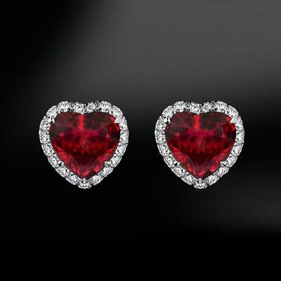Valentine Gift 3Ct Heart Shape Red Ruby Halo Stud Earrings 14K White Gold Finish