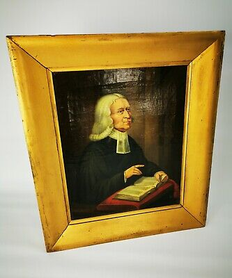Antique 18th - 19th Century School John Wesley Oil On Canvas Portrait Painting