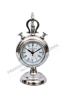 Nautical Collectibles Vintage Maritime Brass Desk Top Clock Silver Finish Gift