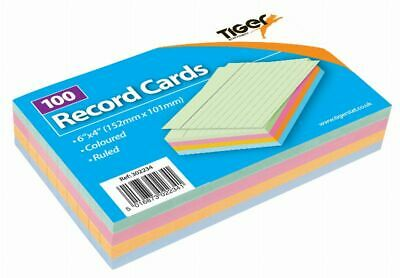 "Coloured Record Cards 6"" x 4"" Ruled Flash Cards Revision Flash Cards new"