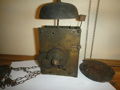 Longcase Grandfather Clock Chain Movement for Spares Repair  As Found Unmolested