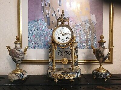 Antique  french ormolu and marble clock & garnitures