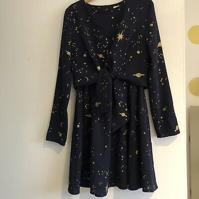 John Lewis Girls Navy Party Dress - Moon And stars - Age 9
