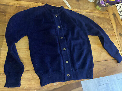 VINTAGE 70's CHILDRENS BLUE DEAD STOCK KNIT  CARDIGAN RETRO AGE 8