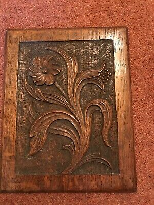Antique Hand Carved Flower Carved Into Oak Timber Wall Plaque Picture Art