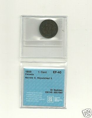 1859 Canada  Large Cent EF-40 CCCS Repunched 5