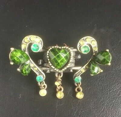 Vintage Ornate Ladies Hair Clip Claw Green Heart Shaped Stone As Centrepiece