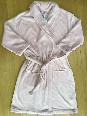 M&S Soft Pink With Silver Flecks Long Wrap Around Dressing Gown Size 20 BNWT