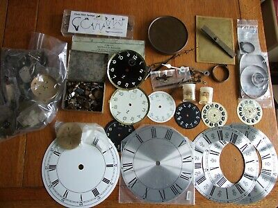 Large lot vintage clock parts, hands, keys, dials etc