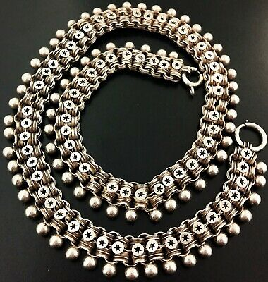 Stunning Antique Victorian Sterling Silver Collar Book Chain Necklace