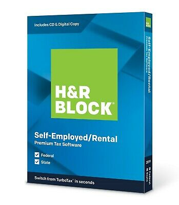 H&R BLOCK Premium Tax Software 2019 Federal and State Self-Employed/Rental CD