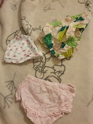 Lovely Girls Two Pairs Of Knicker Bottoms & Hat Age 6-12 Months