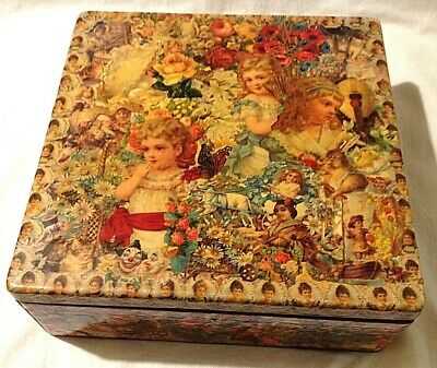Victorian love letter keepsake box Decoupaged with antique style scraps workbox