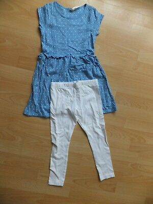 Girls blue tunic top and white leggings set.  Age 6 years.  From Next.
