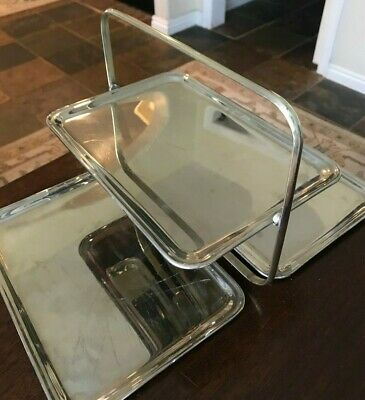 1920'S Antique Leo Schlesinger 3 Tier Folding Silver Metal Tray Art Deco Nyc