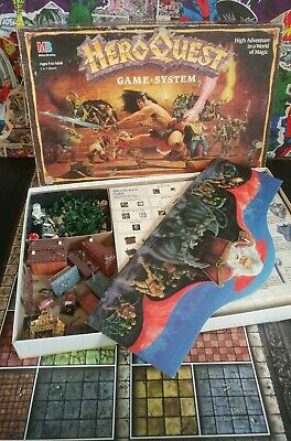 Hero Quest Game System Vintage Milton Bradley Board Game 1989 incomplete