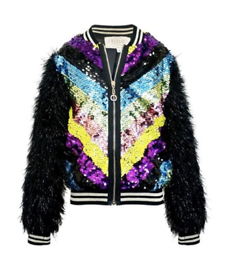 Hannah Banana Girls Size 14 Sequin Bomber With Fuzzzy Sleeves Nwt