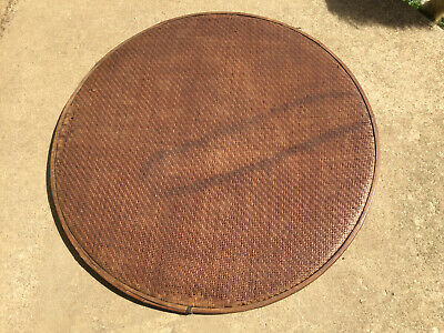 "Antique Caned Bentwood Winnowing Sifter Sieve Grain Grits Screen Round 29"" d"
