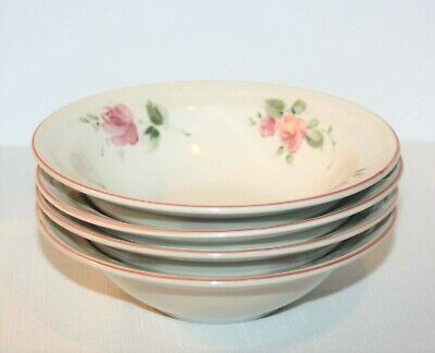 "Gibson Housewares 4 Cereal BOWLS  Roseland Pink Roses Pattern, 7"" retired EUC"