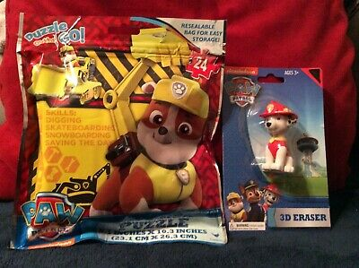 Paw Patrol Nickelodeon Rubble Puzzle & Eraser NEW for Boys & Girls 3+