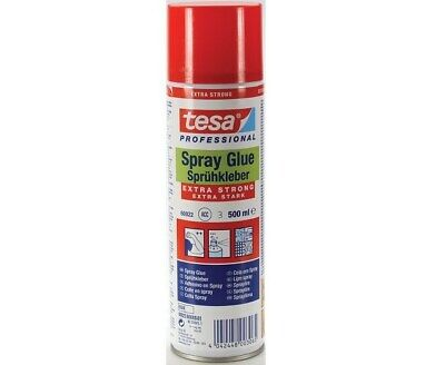 TESA EXTRA STRONG SPRAY GLUE ADHESIVE 500ml FABRIC PLASTIC PICTURE CARDBOARD CAN